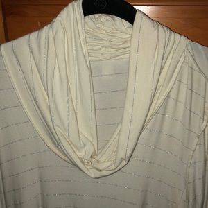 Banana Republic cream & silver strikes cowl neck